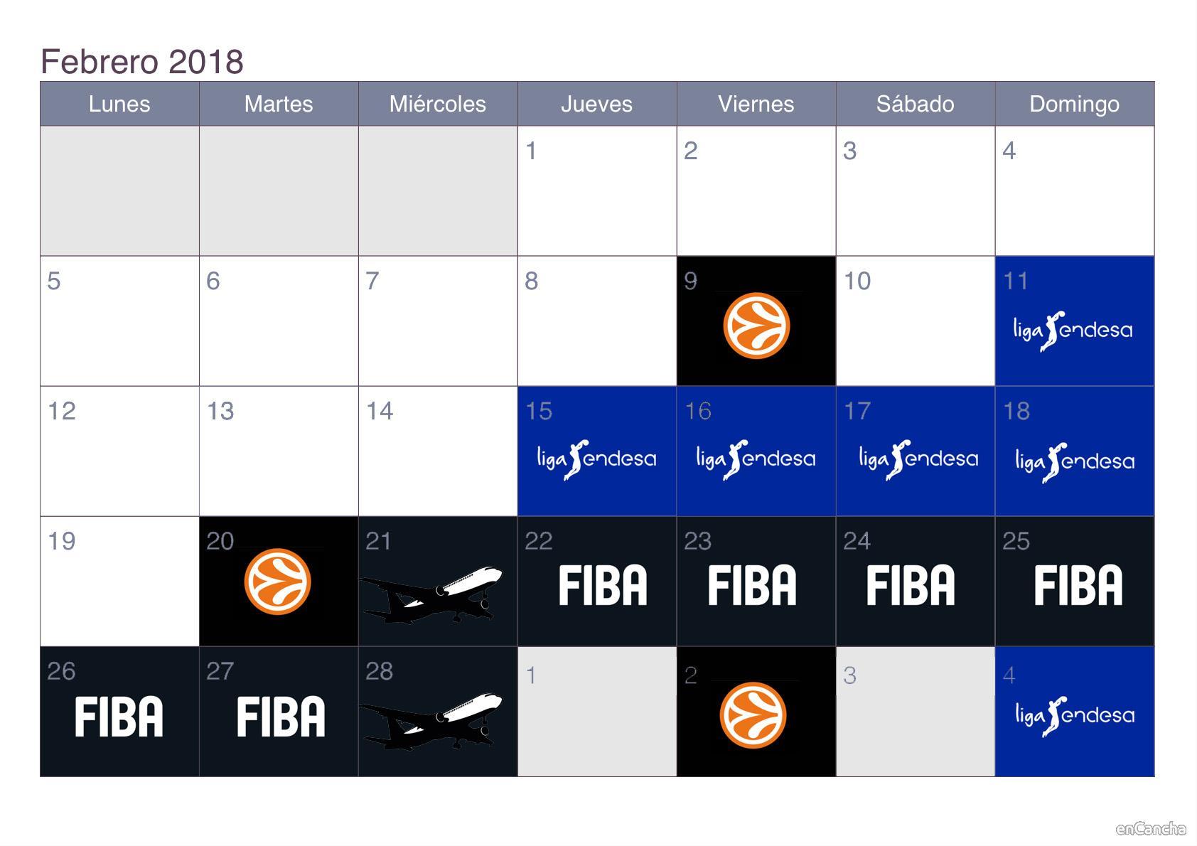 Calendario de la ventana FIBA de febrero