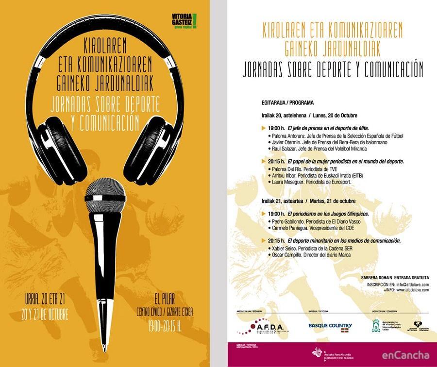 Cartel de las 'Jornadas sobre Comunicación y Deporte' organizadas por la Asociación de Federaciones Deportivas de Álava.